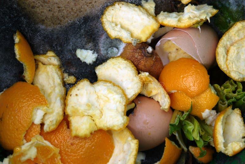 家:有烂掉的食物细节的天然肥料桶 库存图片