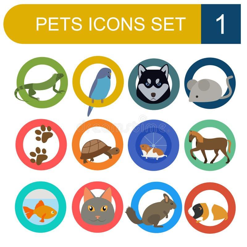 家养的宠物和狩医被设置的医疗保健平的象 向量例证