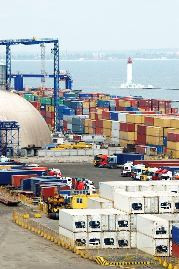 容器傲德萨端口海运终端乌克兰 库存照片