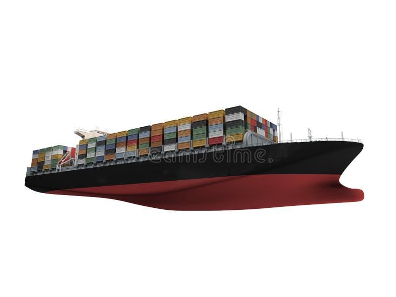 容器前查出的船视图 向量例证