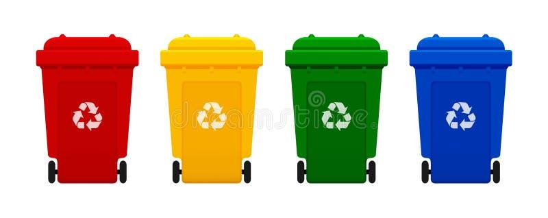 容器塑料,四五颜六色在白色背景隔绝的回收站,红色,黄色,绿色,并且蓝色容器与回收废物标志 皇族释放例证