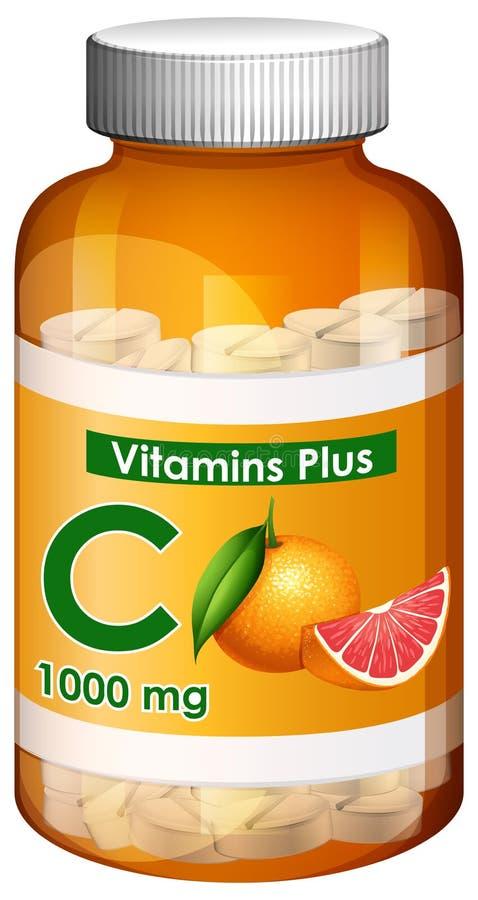 容器维生素C加上 向量例证