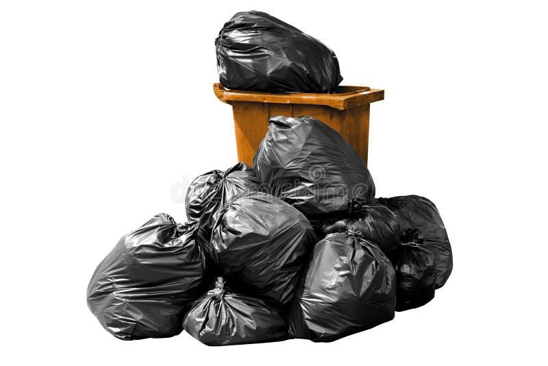 容器袋子垃圾桔子,容器,垃圾,垃圾,垃圾,在背景白色隔绝的塑料袋堆 库存照片