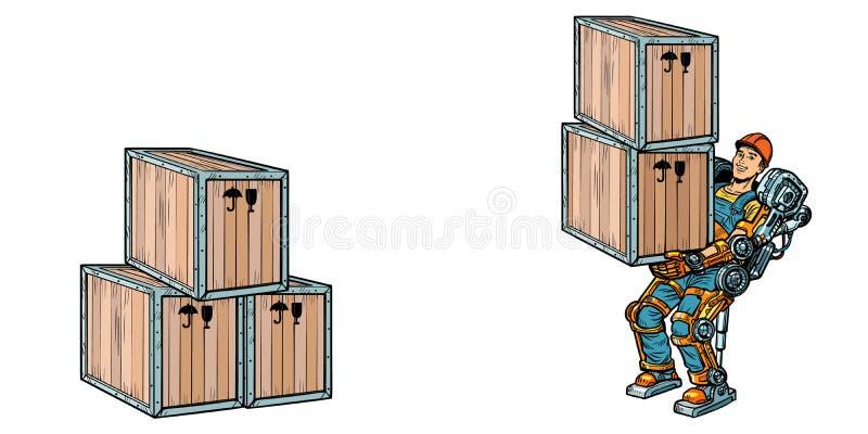 容器装货 一个人在外骨骼外骨骼工作 皇族释放例证