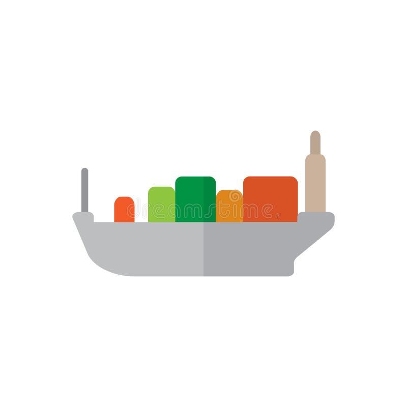 容器,货船平的象,填装了传染媒介标志,在白色隔绝的五颜六色的图表 库存例证