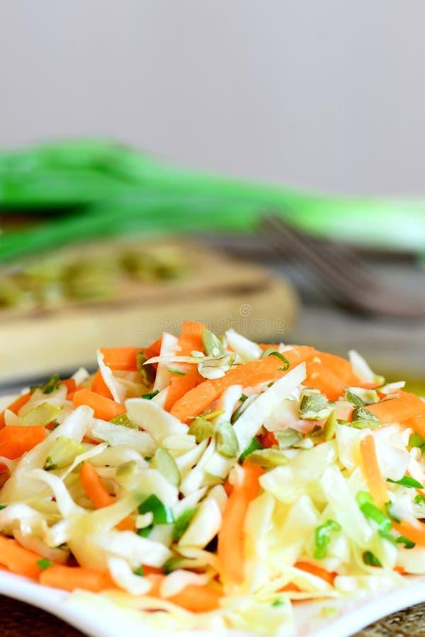 容易的家庭凉拌卷心菜沙拉 美味的凉拌卷心菜沙拉用红萝卜、葱和南瓜籽在板材和在一张木桌上 库存照片