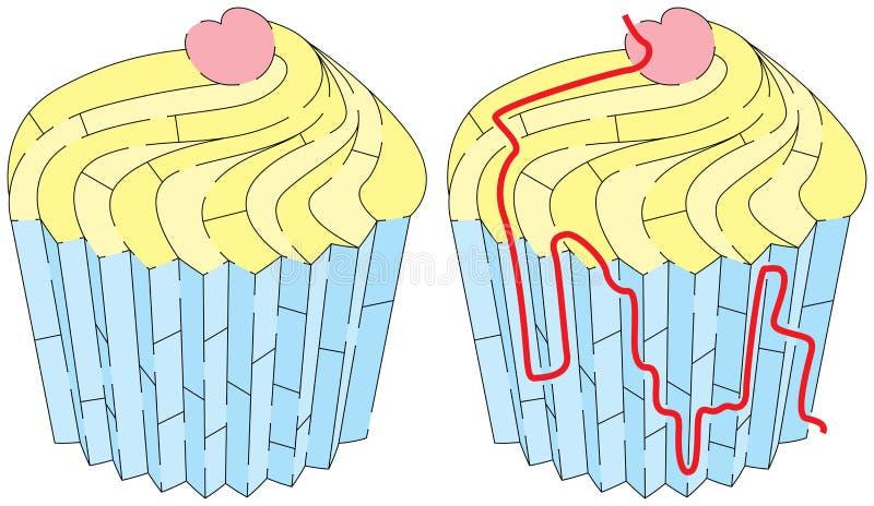 容易的杯子蛋糕迷宫 向量例证