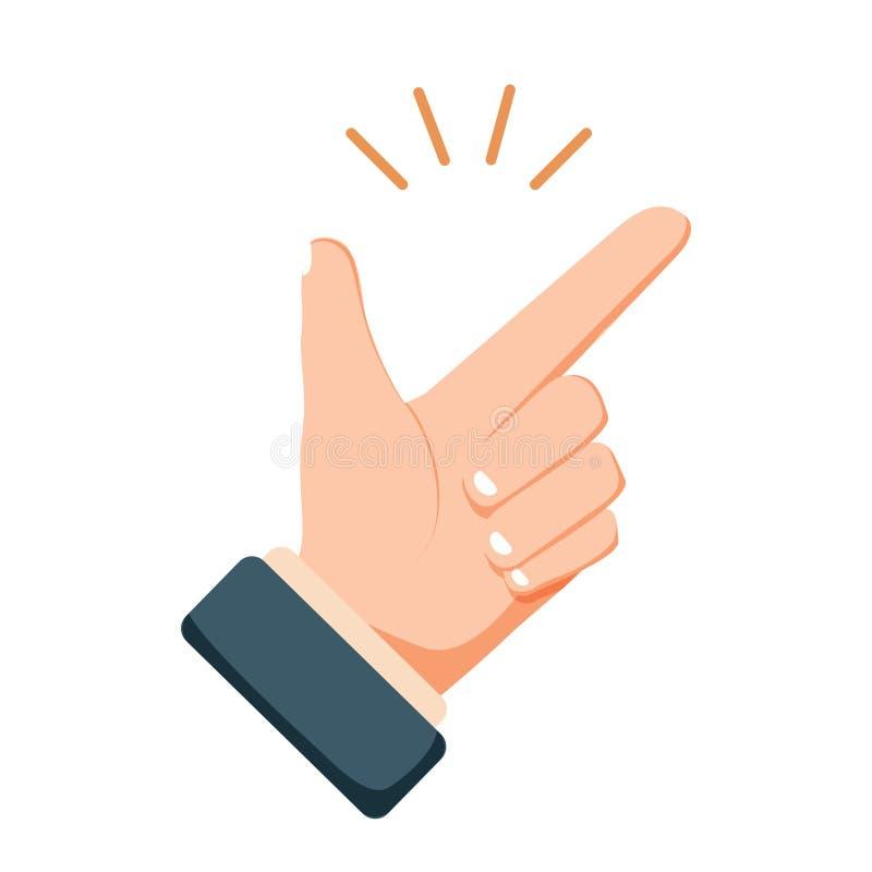 容易的概念:点击平的动画片样式象的手指 例证现代向量 库存例证