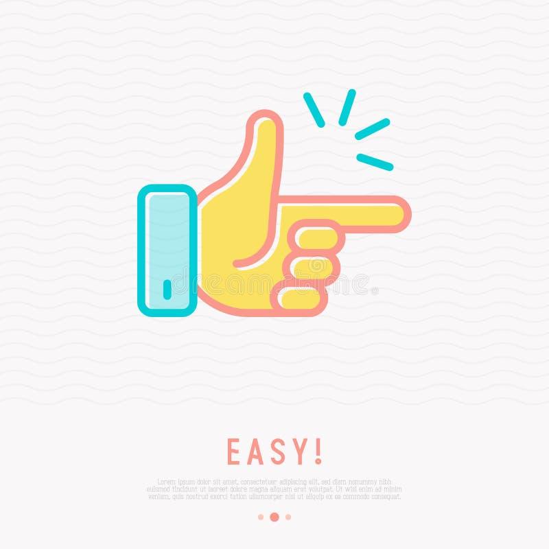 容易的概念:点击稀薄的线象的手指 向量例证