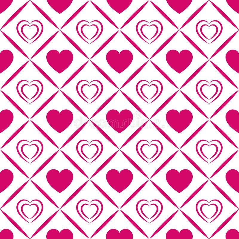 容易的背景编辑重点导航 华伦泰` s天无缝的样式 抽象模板纹理 明亮的桃红色爱心脏象 波浪elemen 库存例证