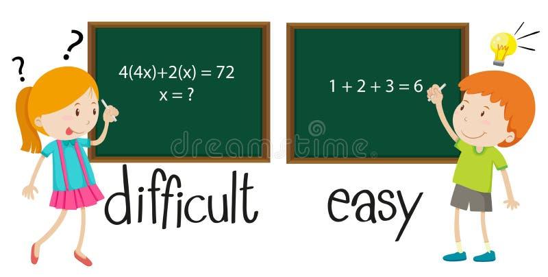 容易相反的形容词困难和 库存例证