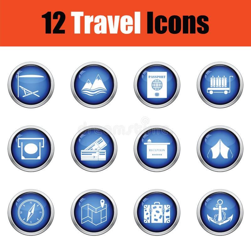 容易编辑图标映象集旅行向量 库存例证