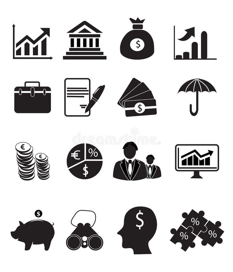 容易编辑财务图标映象集导航 向量例证