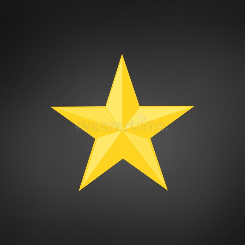 容量五针对性的金黄黄色星 在黑现代背景隔绝的传染媒介例证 库存例证