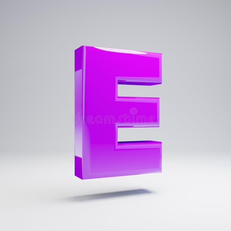 容量光滑的在白色背景E隔绝的紫罗兰大写字目 皇族释放例证