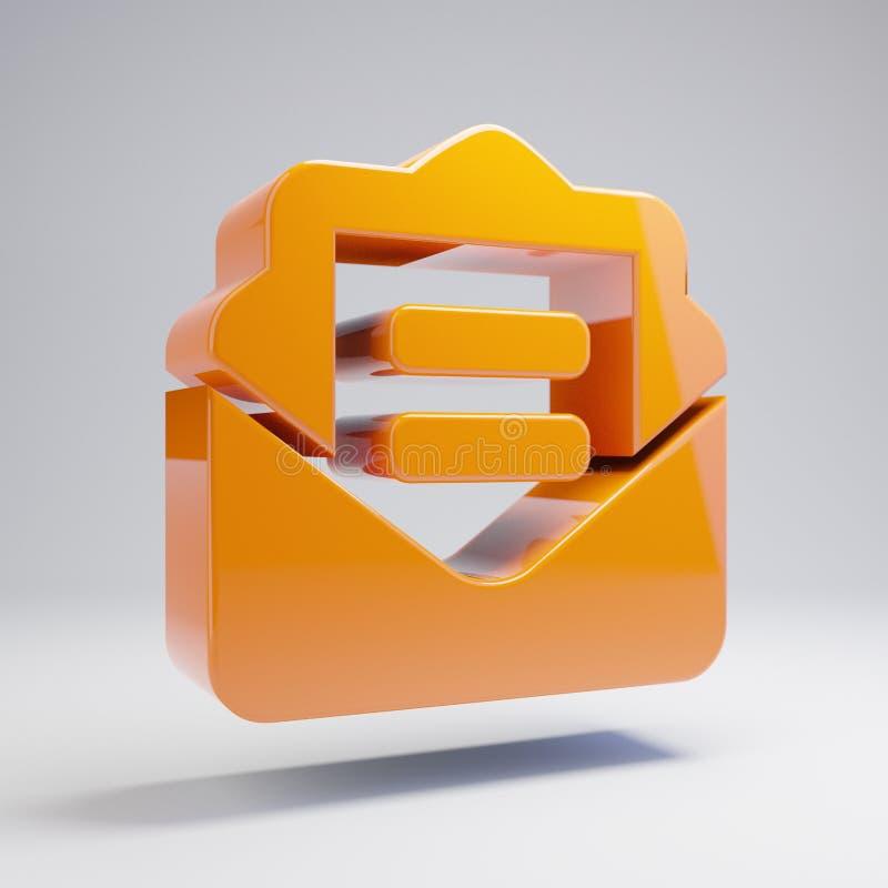 容量光滑的热的橙色在白色背景隔绝的信封开放文本象 皇族释放例证