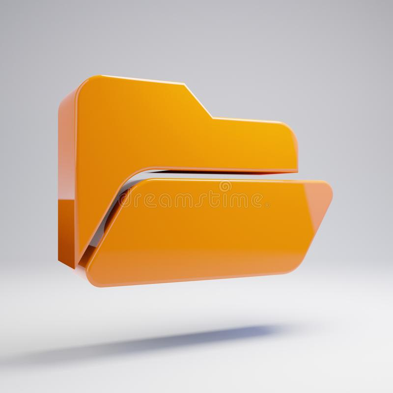 容量光滑的热的橙色在白色背景隔绝的文件夹开放象 免版税图库摄影