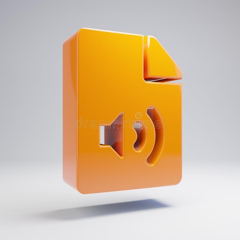 容量光滑的热的橙色在白色背景隔绝的文件音频象 向量例证