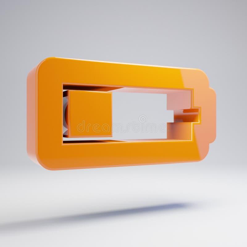 容量光滑的热的橙色在白色背景隔绝的电池四分之一象 库存例证