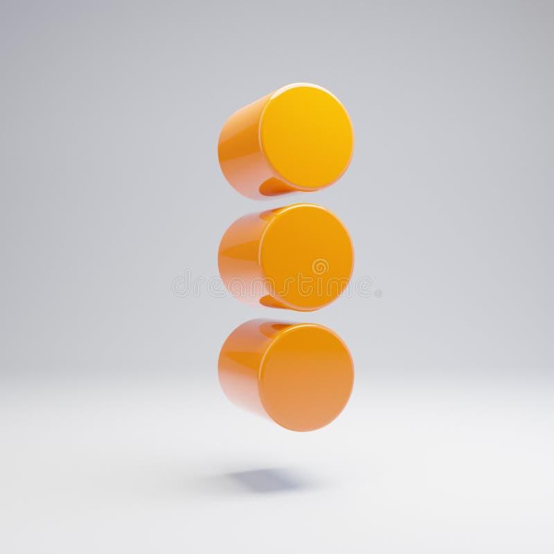 容量光滑的热的橙色在白色背景隔绝的省略号垂直的象 皇族释放例证