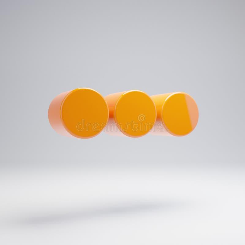 容量光滑的热的橙色在白色背景隔绝的省略号水平的象 库存例证