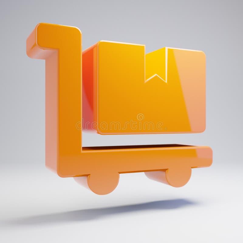 容量光滑的热的橙色在白色背景隔绝的移动式摄影车平板车象 向量例证