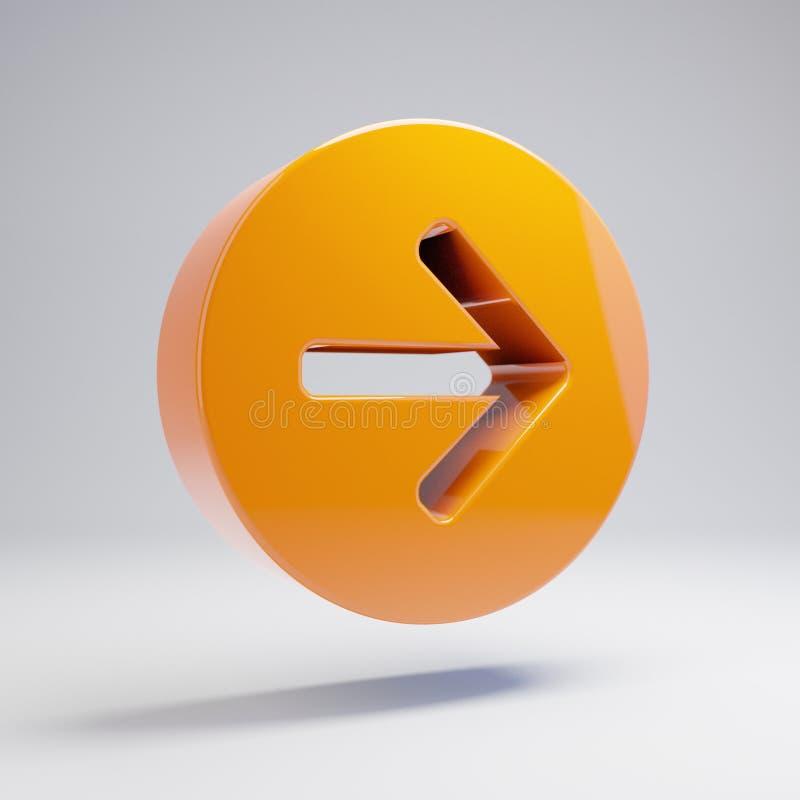 容量光滑的热的橙色在白色背景隔绝的箭头圈子正确的象 向量例证
