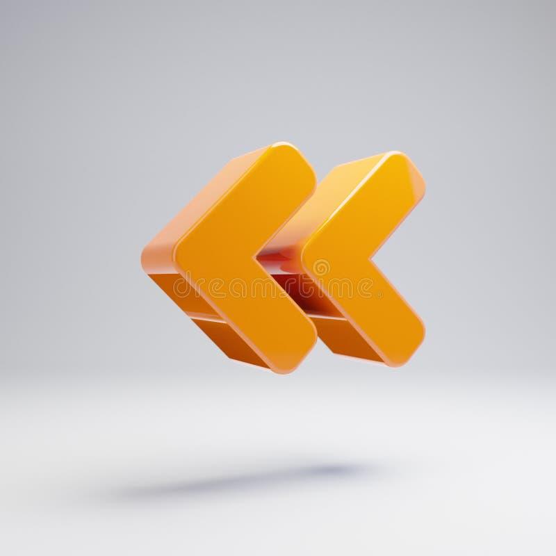 容量光滑的热的橙色在白色背景隔绝的角度双重左象 皇族释放例证