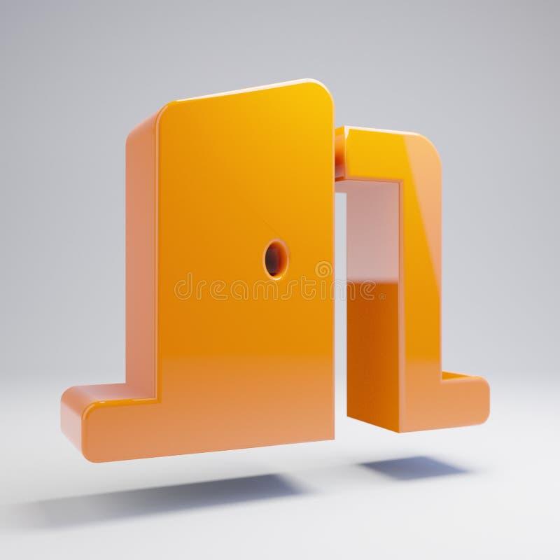 容量光滑的热的橙色在白色背景隔绝的门开放象 皇族释放例证
