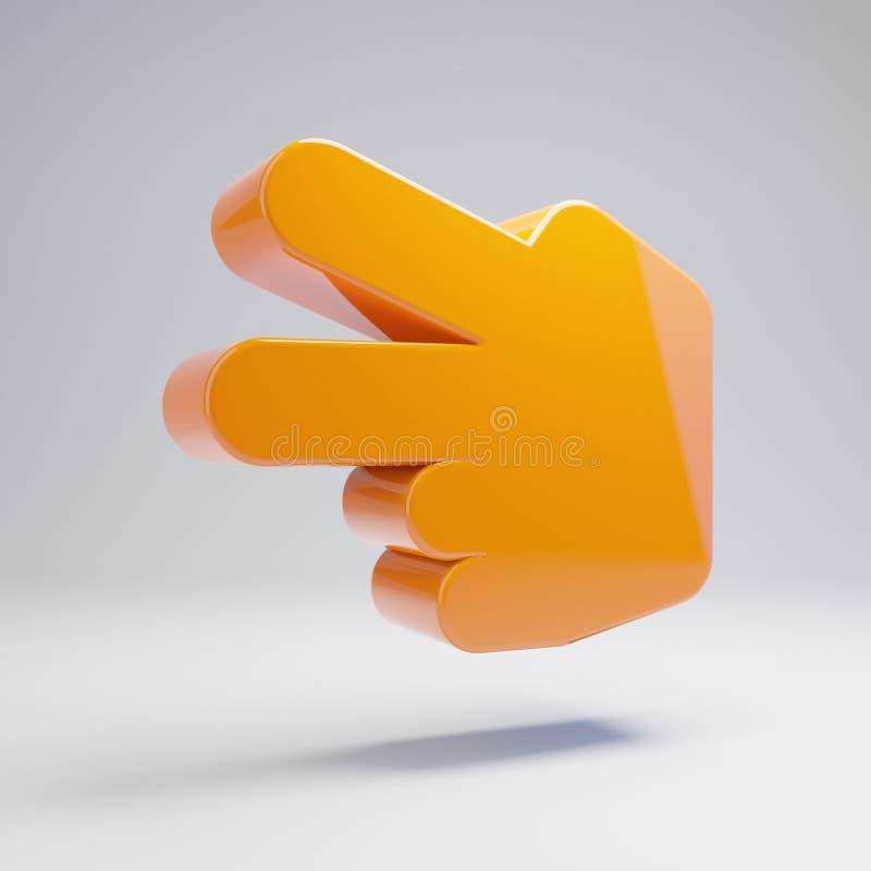 容量光滑的热的橙色手剪在白色背景隔绝的象 皇族释放例证