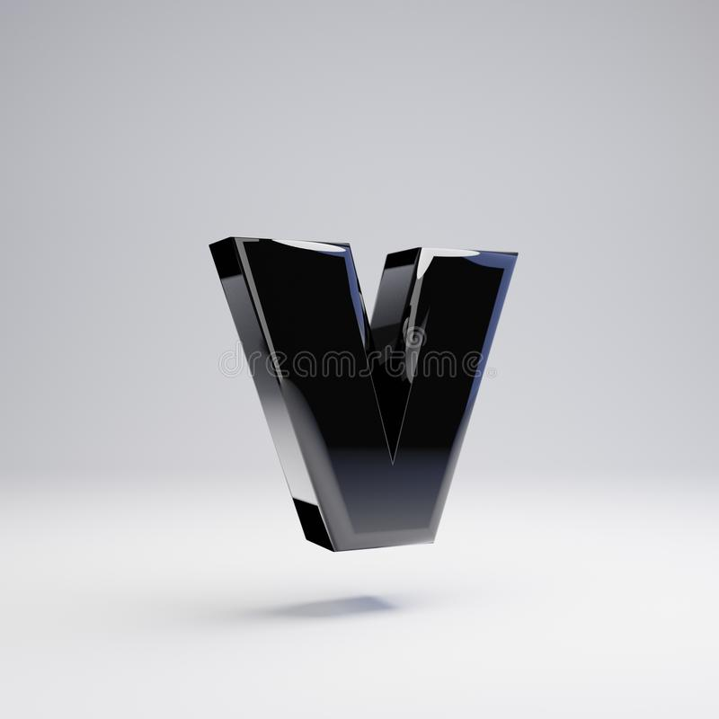 容量光滑的黑小写字母在白色背景隔绝的v 库存例证