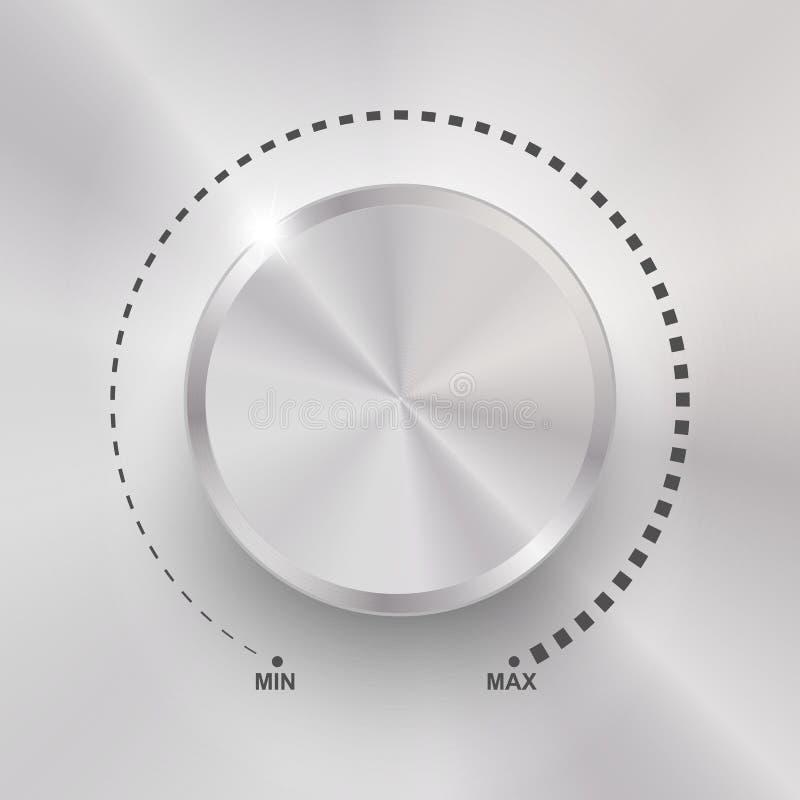 容量按钮、合理的控制、音乐瘤与金属纹理和数字标度在背景 库存例证