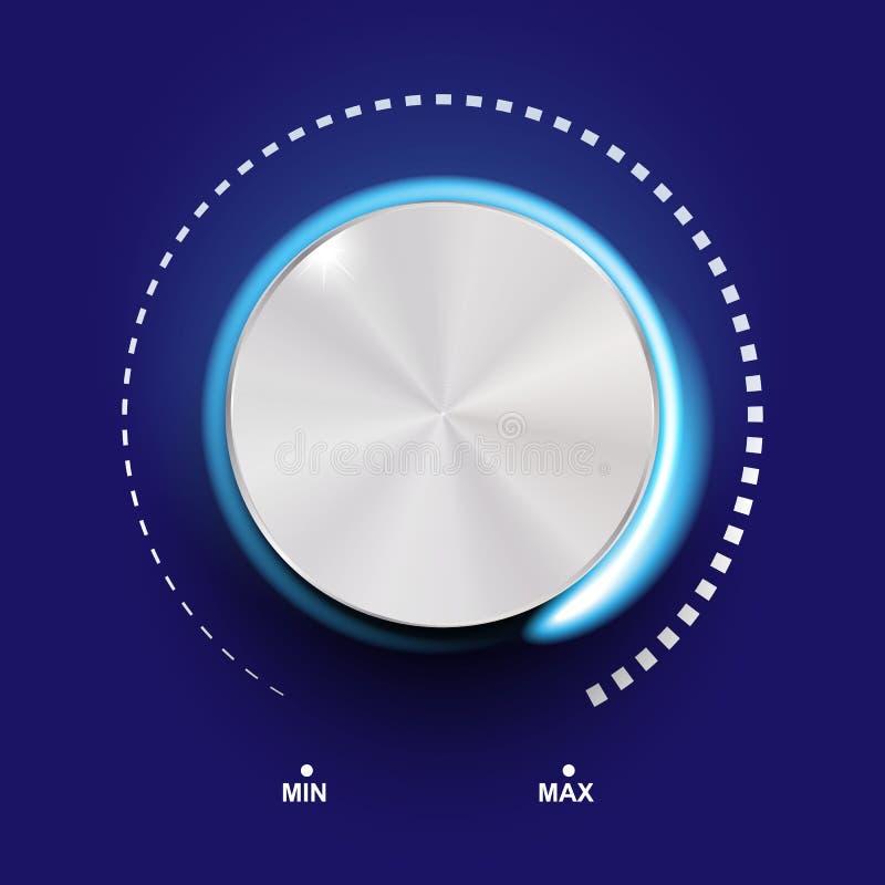 容量按钮、合理的控制、音乐瘤与金属纹理和数字标度在背景 向量例证