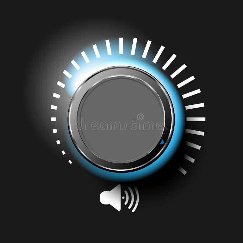 容量按钮、音乐瘤、合理的控制与金属纹理和在背景隔绝的数字标度 皇族释放例证