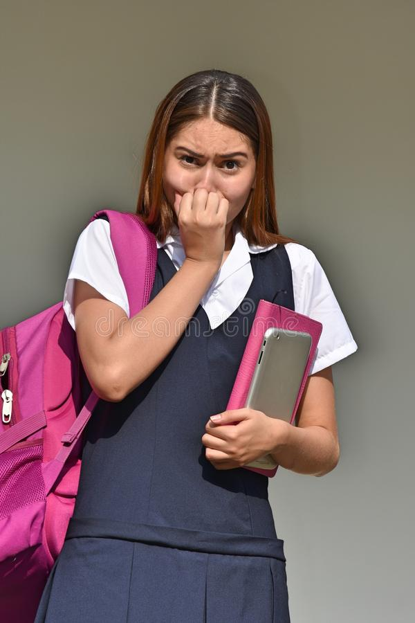 宽容哥伦比亚的女学生和恐惧 免版税库存照片