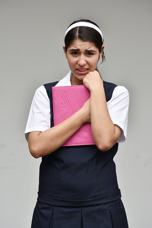 宽容哥伦比亚的学校女孩和恐惧 免版税库存照片