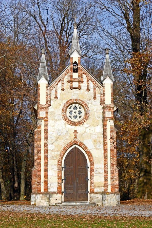 宽容教堂在森林里 免版税库存图片