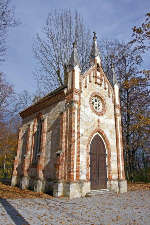 宽容教堂在森林里 库存照片