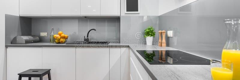 宽敞和现代厨房 免版税图库摄影
