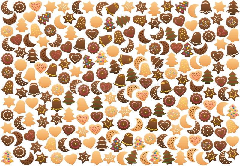 宽松地被安排的圣诞节曲奇饼 库存例证
