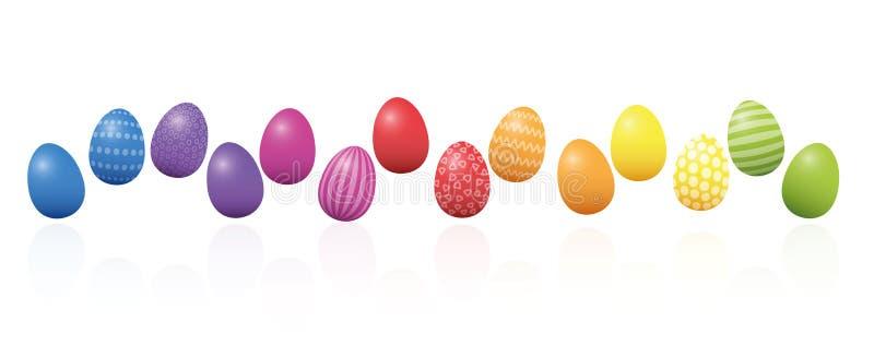 宽松地被安排的复活节彩蛋五颜六色的线 向量例证