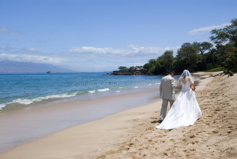 宽海滩异乎寻常的med婚礼 库存照片
