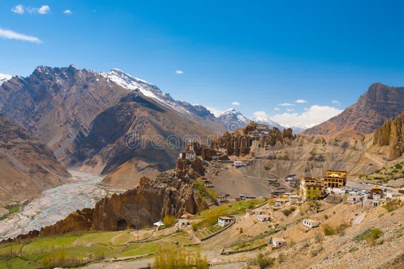 宽视图老新的Dhankar修道院Spiti谷 库存图片