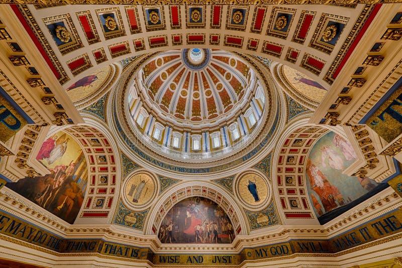 宾夕法尼亚国会大厦圆形建筑的天花板 库存照片