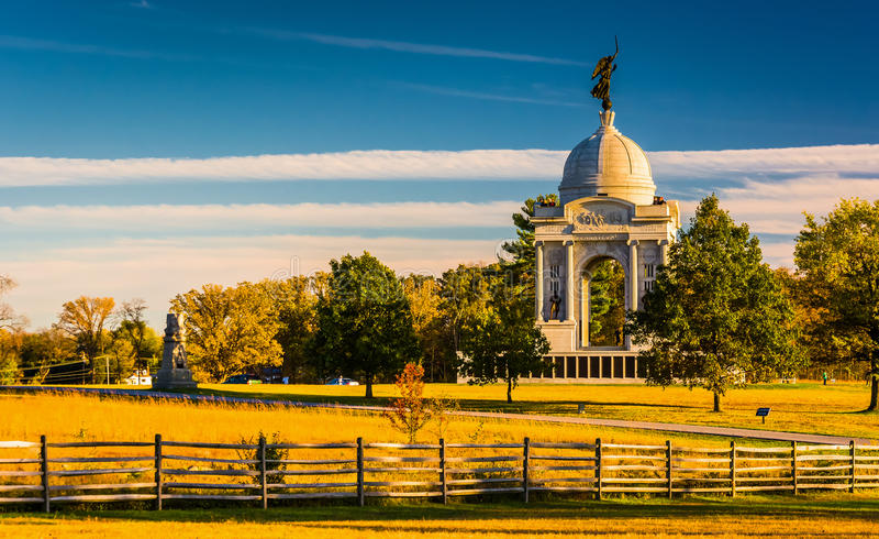 宾夕法尼亚纪念碑,在葛底斯堡,宾夕法尼亚 免版税库存图片