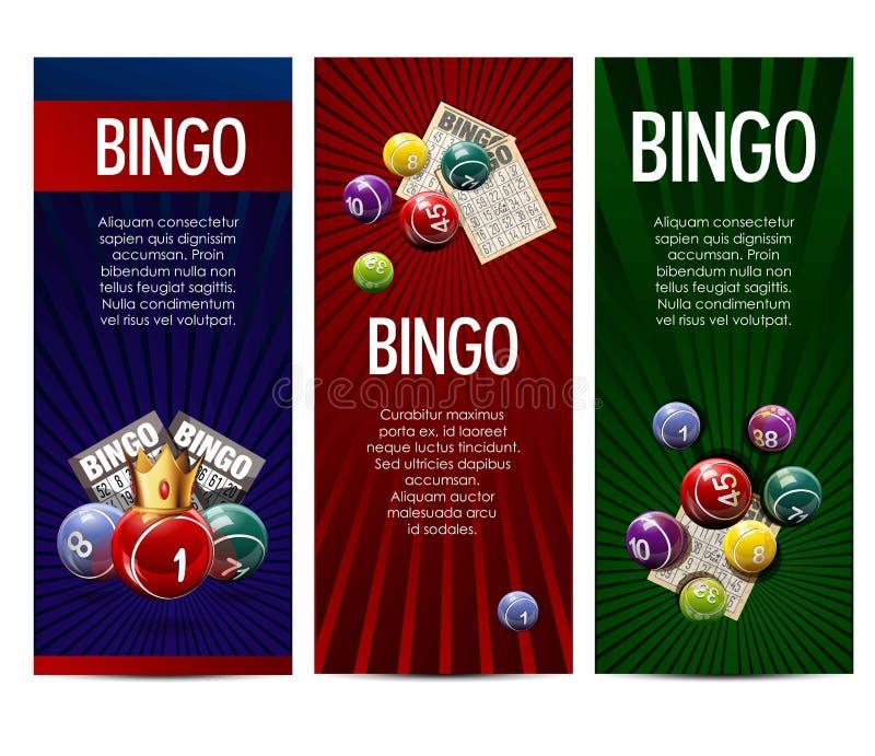 宾果游戏抽奖乐透纸牌比赛被设置的传染媒介横幅 向量例证