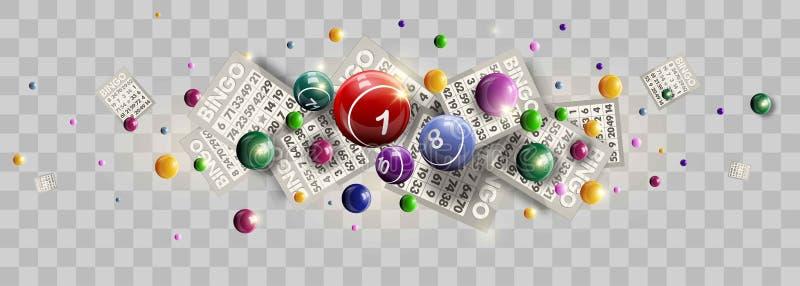 宾果游戏抽奖券幸运的乐透纸牌传染媒介的球和数字设计 向量例证