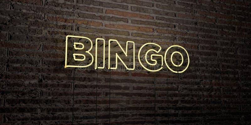 宾果游戏-在砖墙背景的现实霓虹灯广告- 3D回报了皇族自由储蓄图象 向量例证