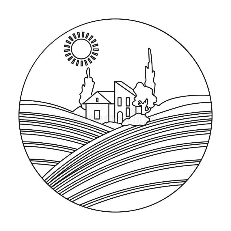 寄宿与在白色背景在概述样式隔绝的葡萄园象 葡萄酒酿造标志 库存例证