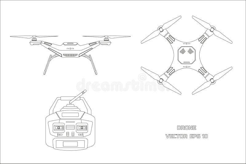 寄生虫外形图在白色背景的 quadrocopter控制板  前面,顶视图 库存例证